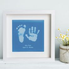 Framed Vibrant Baby Hand and Foot Print Glass Tile - Baby Keepsake Gift